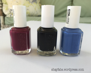 Essie nail polishes (Left to Right): bahama mama, licorice, and pret-a-surfer.